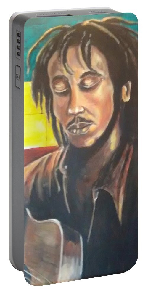 Rasta Art Portable Battery Charger featuring the painting Rasta Music by Andrew Johnson