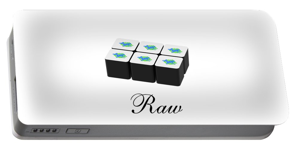 Raw Portable Battery Charger featuring the mixed media Raw by Danielle Acevedo