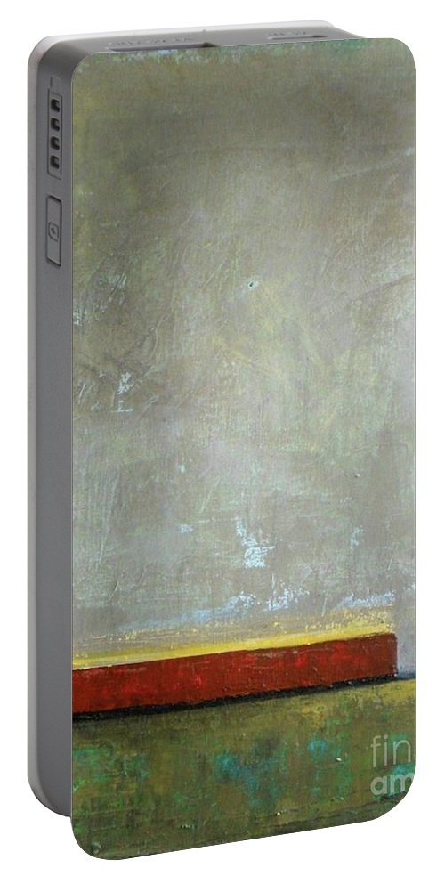 Contemporary Abstract Portable Battery Charger featuring the painting Red Barn by Vesna Antic