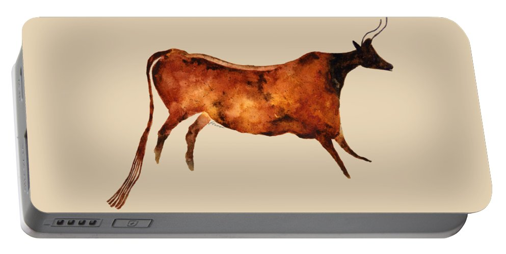 Cave Portable Battery Charger featuring the painting Red Cow In Beige by Hailey E Herrera