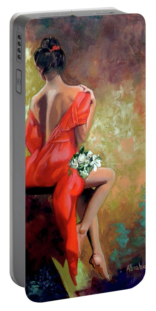 Women Portable Battery Charger featuring the painting Red Lady 2 by Jose Manuel Abraham