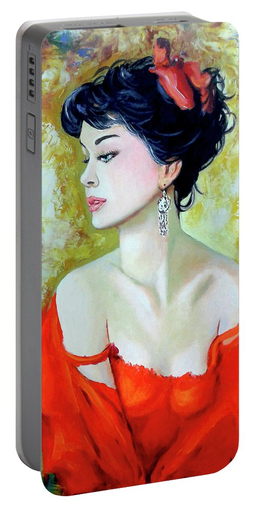 Lady Portable Battery Charger featuring the painting Red Lady by Jose Manuel Abraham