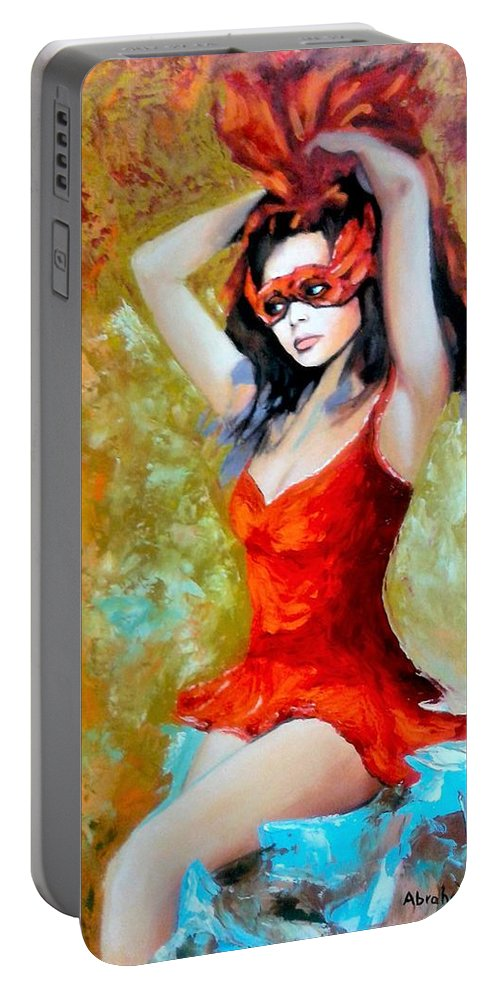 Women Portable Battery Charger featuring the painting Red Mask Lady by Jose Manuel Abraham