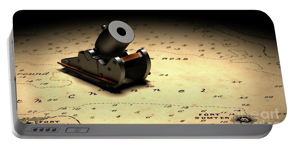 American Civil War Portable Battery Charger featuring the digital art Representation Of The Gun Which Fired The Opening Shot Of The American Civil War by American School