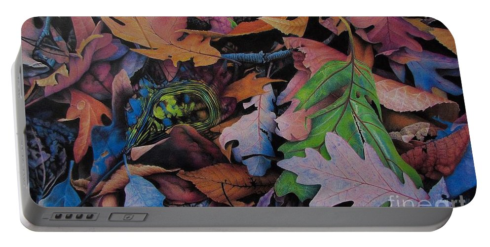 Leaves Portable Battery Charger featuring the drawing Reservoir by Pamela Clements