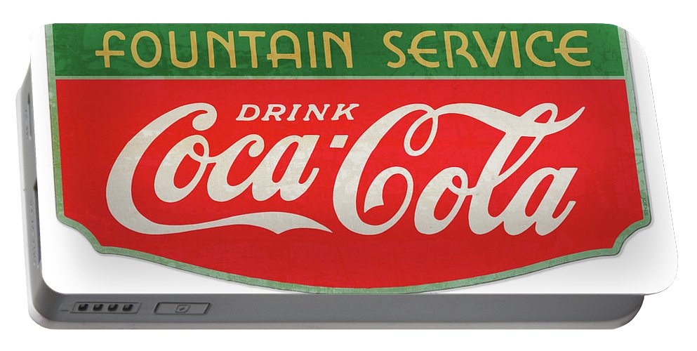 Coke Portable Battery Charger featuring the drawing Retro Coke Sign by Greg Joens