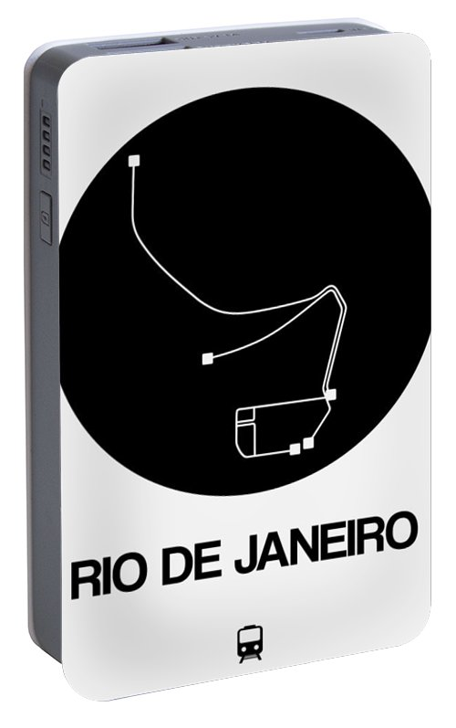 Vacation Portable Battery Charger featuring the digital art Rio De Janeiro Black Subway Map by Naxart Studio