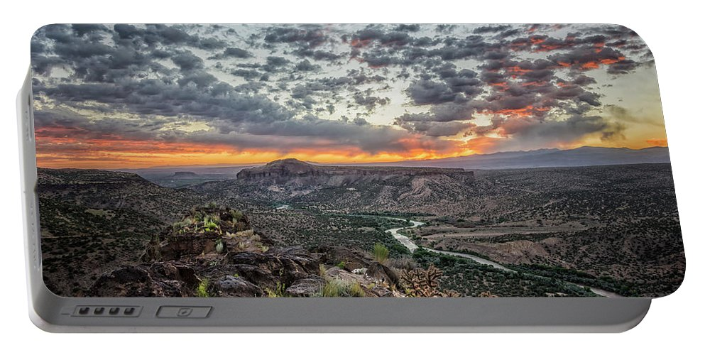 Rio Grande Portable Battery Charger featuring the photograph Rio Grande River Sunrise 2 - White Rock New Mexico by Brian Harig