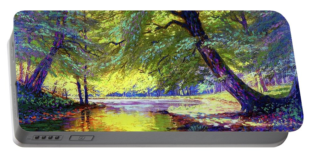 Forest Portable Battery Charger featuring the painting River Of Gold by Jane Small