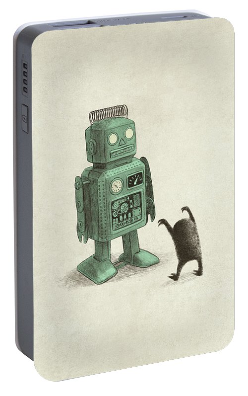 Vintage Portable Battery Charger featuring the drawing Robot Vs Alien by Eric Fan