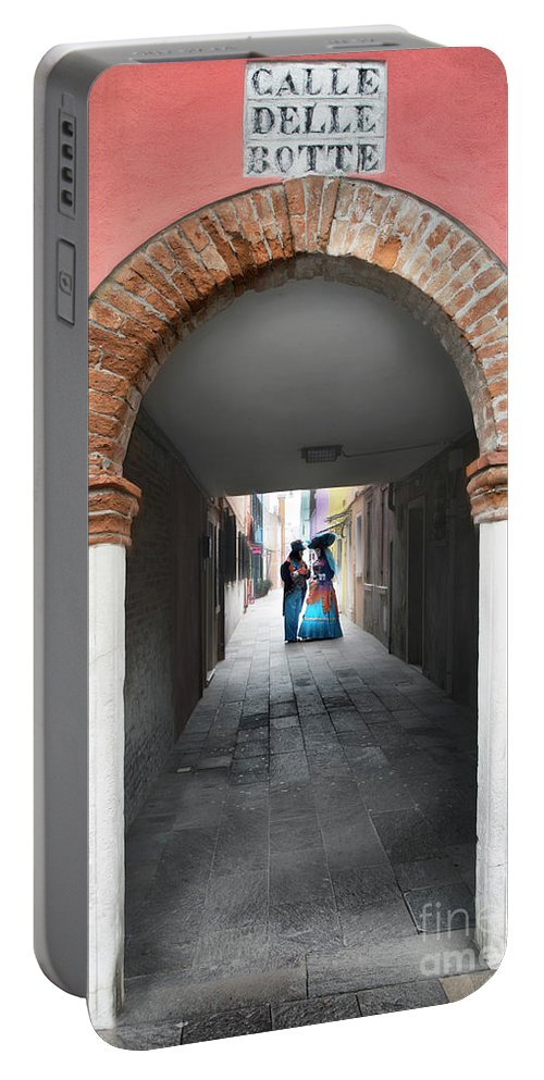 Carnival Portable Battery Charger featuring the photograph Romance In Burano by Linda D Lester