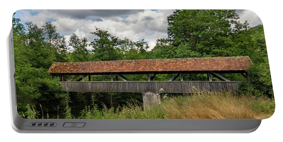 Rothenburg Bridge Portable Battery Charger featuring the photograph Rothenburg Covered Bridge by Norma Brandsberg