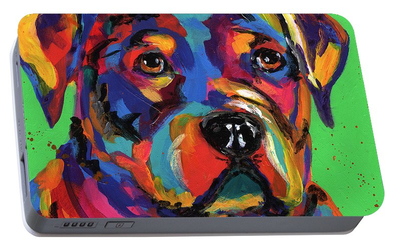 Tracy Miller Portable Battery Charger featuring the painting Rottweiler by Tracy Miller