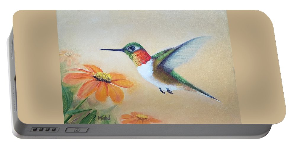 Rufous Hummingbird Portable Battery Charger featuring the painting Rufous In Marigolds by Mishel Vanderten
