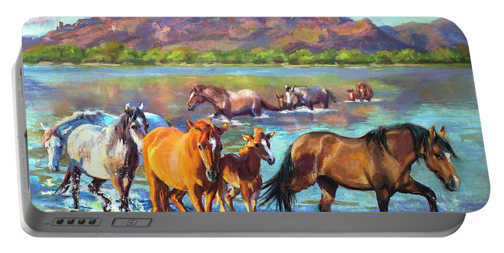 Pastel Portable Battery Charger featuring the painting Salt River Solitude by Jean Hildebrant