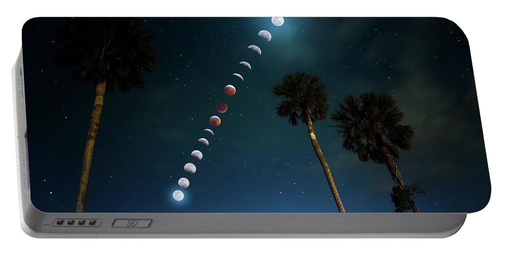 Moon Portable Battery Charger featuring the photograph Satellite Sky by Mark Andrew Thomas