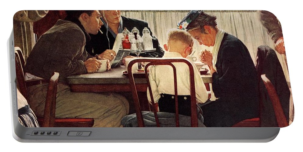 Eating Portable Battery Charger featuring the drawing Saying Grace by Norman Rockwell