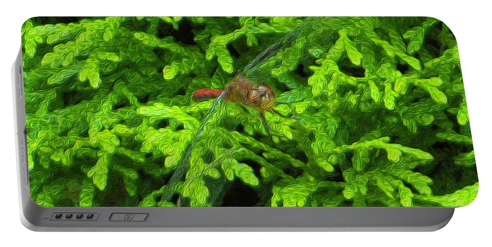 Scarlet Portable Battery Charger featuring the photograph Scarlet Darter Male Dragonfly by Rockin Docks