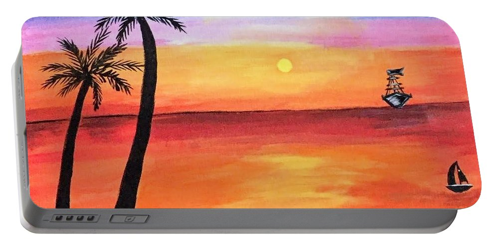 Canvas Portable Battery Charger featuring the painting Scenary by Aswini Moraikat Surendran