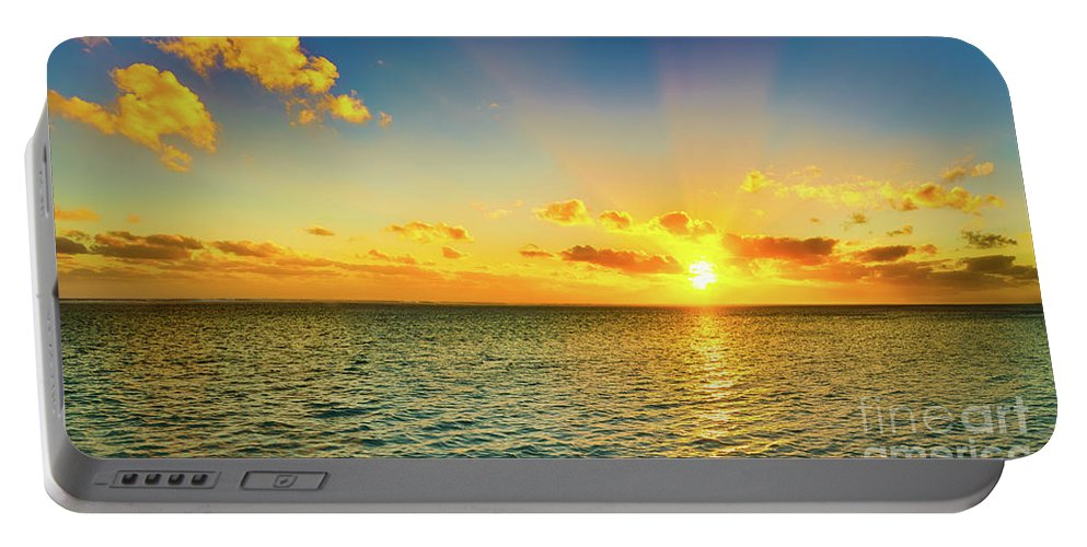 Panorama Portable Battery Charger featuring the photograph Seascape At Sunset. Panorama by MotHaiBaPhoto Prints