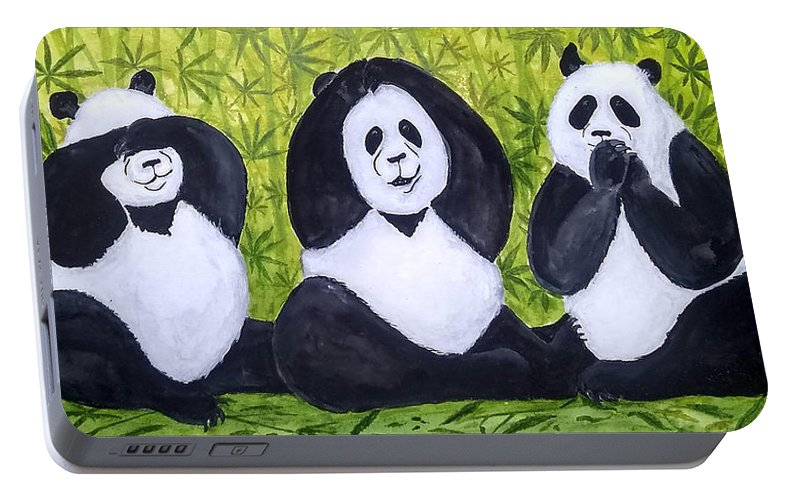 Pandas Portable Battery Charger featuring the painting See No Evil.. by Vallee Johnson
