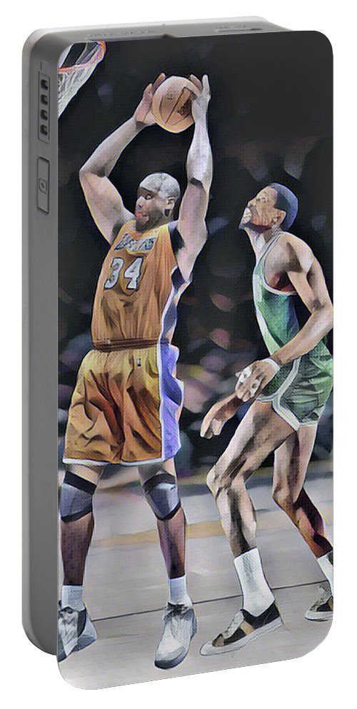 Shaquille O Neal Portable Battery Charger featuring the mixed media Shaquille O Neal Vs Bill Russell Abstract Art 1 by Joe Hamilton