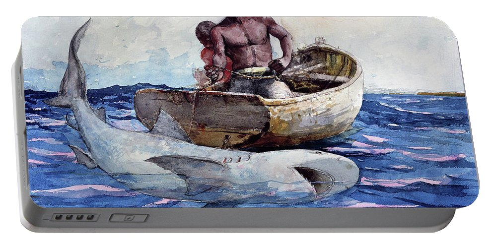 Winslow Homer Portable Battery Charger featuring the painting Shark Fishing,1885 - Digital Remastered Edition by Winslow Homer