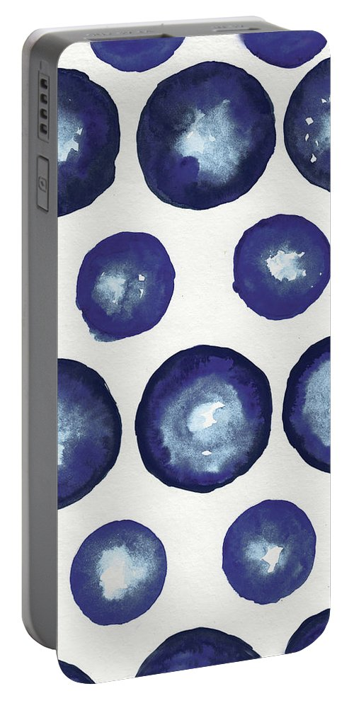 Shibori Portable Battery Charger featuring the mixed media Shibori Dots by Elizabeth Medley