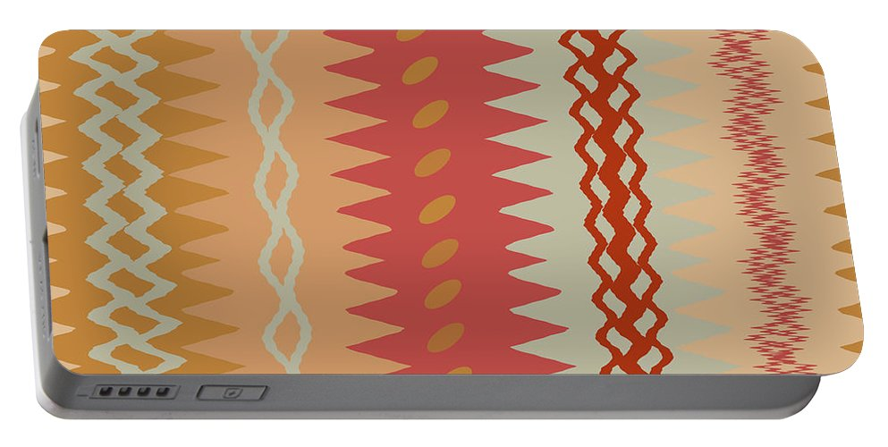 Abstract Portable Battery Charger featuring the digital art Sienna Peach Abstract by Ruth Palmer