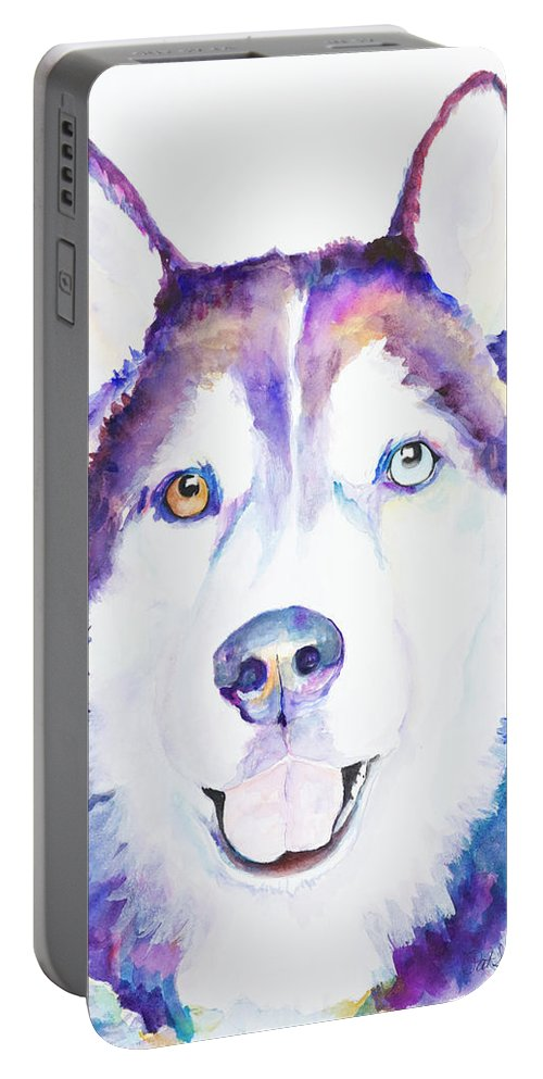 Siberian Husky Portable Battery Charger featuring the painting Simba by Pat Saunders-White