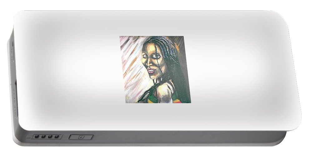 Portable Battery Charger featuring the painting Sister by Andrew Johnson