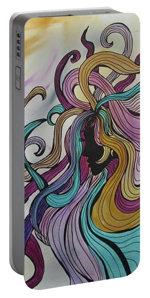 Acrylic Painting Portable Battery Charger featuring the drawing Sisters by Patricia Piotrak