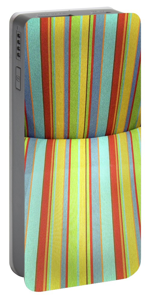 Chair Portable Battery Charger featuring the photograph Sitting On Stripes by Cora Wandel