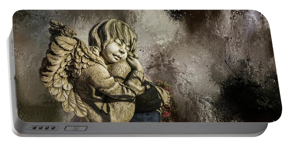 Angel Portable Battery Charger featuring the mixed media Sleeping Angel by Eva Lechner