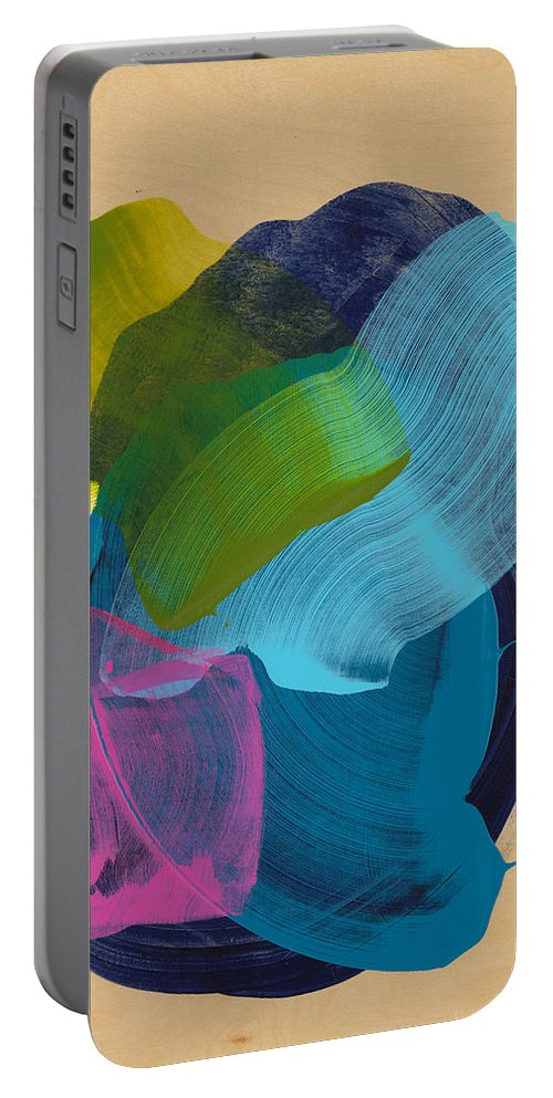 Abstract Portable Battery Charger featuring the painting Socal 02 by Claire Desjardins