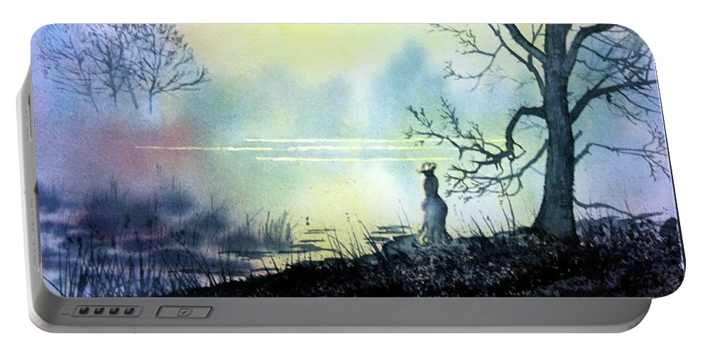 Glenn Marshall Artist Portable Battery Charger featuring the painting Solitude by Glenn Marshall