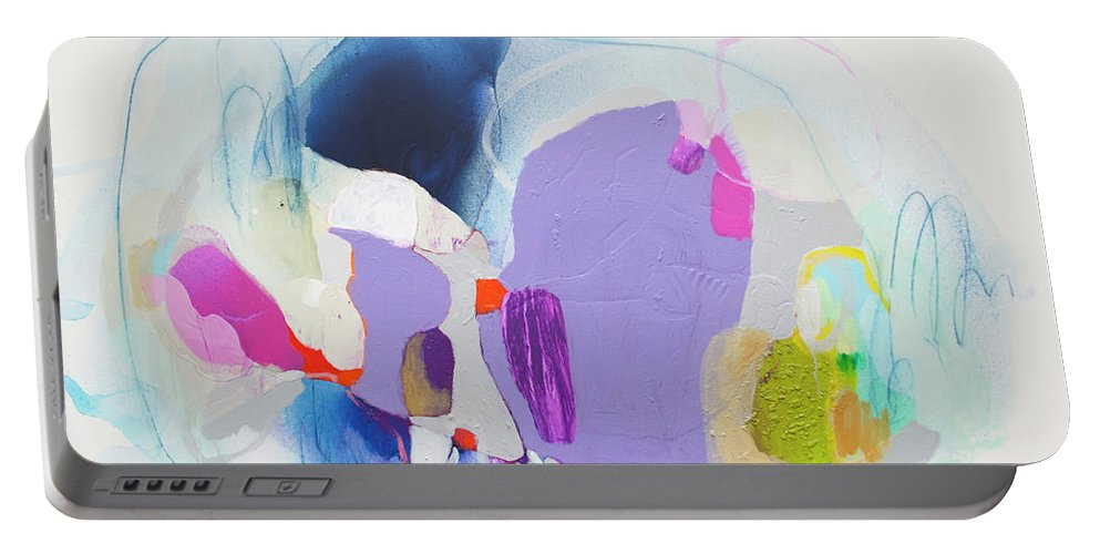 Abstract Portable Battery Charger featuring the painting Sometime In June by Claire Desjardins