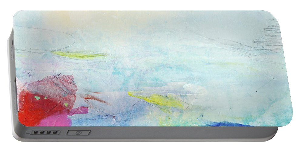 Abstract Portable Battery Charger featuring the painting Somewhere Else by Claire Desjardins