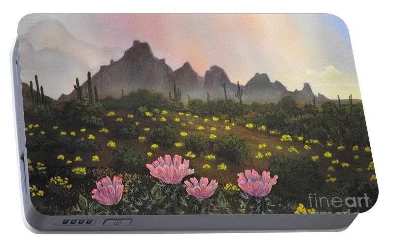 Hedgehog Cactus Flowers Portable Battery Charger featuring the painting Spring Solitude by Jerry Bokowski