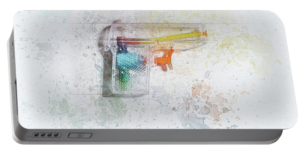 Still Life Portable Battery Charger featuring the digital art Squirt Gun Painted by Scott Norris