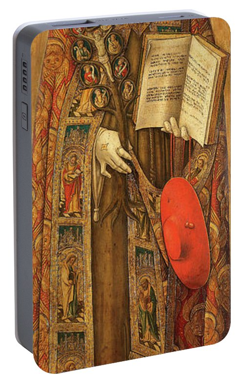 Vittore Crivelli Portable Battery Charger featuring the painting St Bonaventura, 1502 by Vittore Crivelli