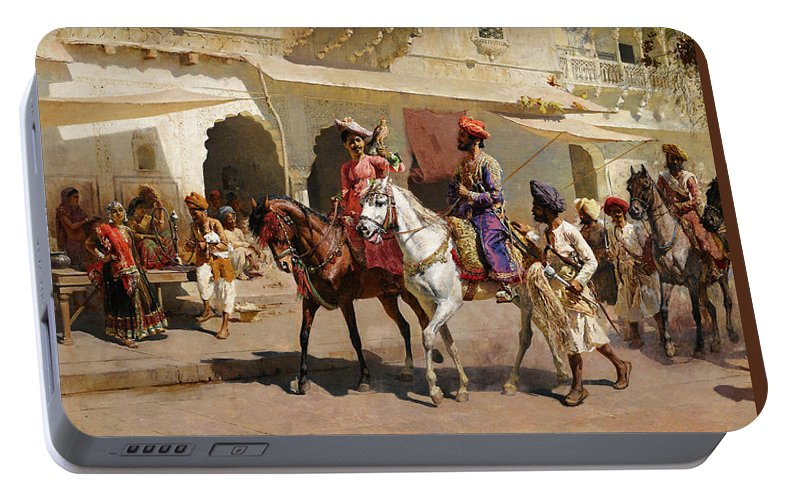 Start Portable Battery Charger featuring the painting Start For The Hunt At Gwalior by Edwin Lord Weeks