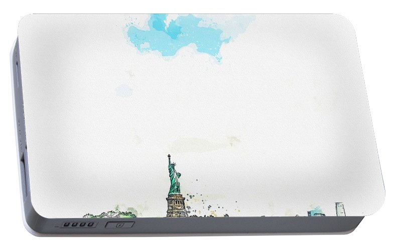 Nature Portable Battery Charger featuring the painting Statue Of Liberty National Monument, New York, United States Watercolor By Ahmet Asar by Ahmet Asar