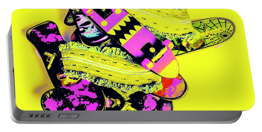 Yellow Portable Battery Charger featuring the photograph Still Life Street Skate by Jorgo Photography - Wall Art Gallery