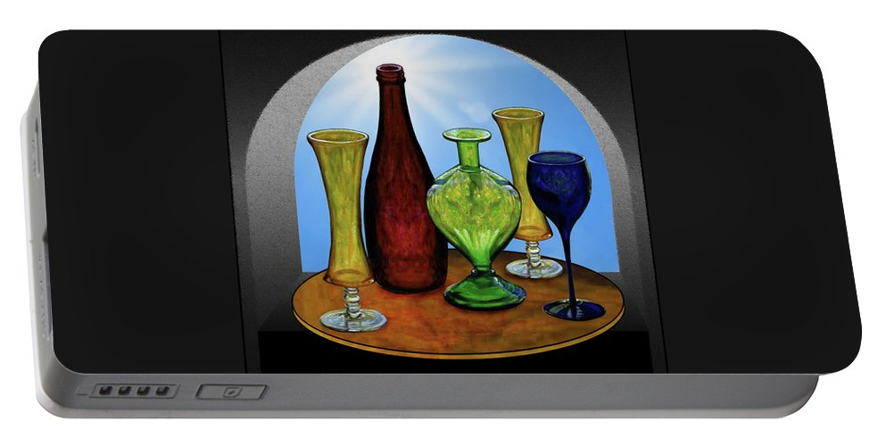 Still Life Portable Battery Charger featuring the painting Still Life with Bottles by Hugo Heikenwaelder