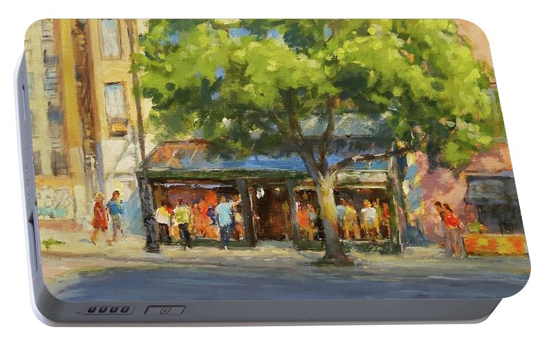 New York Portable Battery Charger featuring the painting Summer Afternoon At The Galway Hooker by Peter Salwen