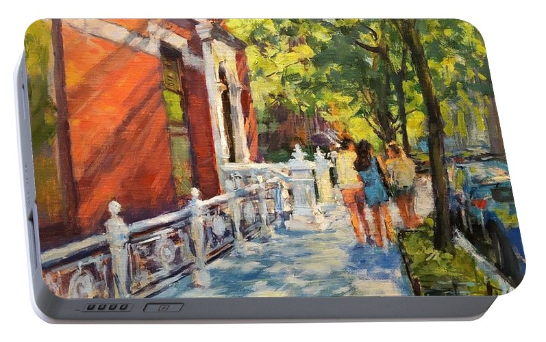Portable Battery Charger featuring the painting Summer Morning On West 82nd by Peter Salwen