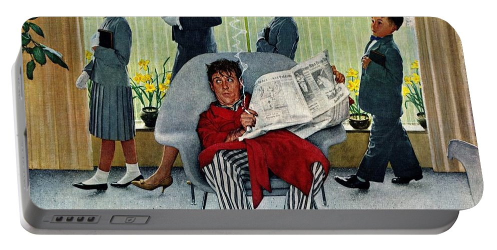 Church Portable Battery Charger featuring the drawing Sunday Morning by Norman Rockwell