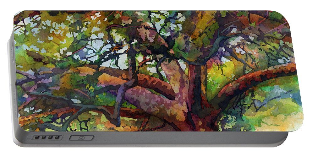 Oak Portable Battery Charger featuring the painting Sunlit Century Tree by Hailey E Herrera