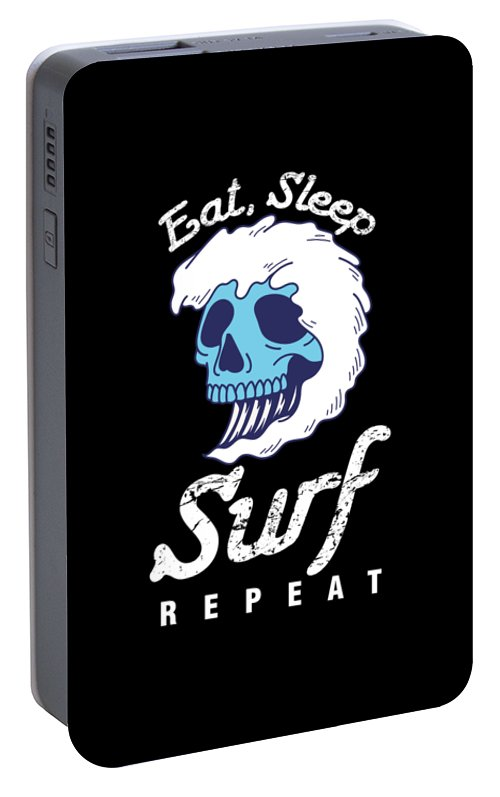 Surfing Portable Battery Charger featuring the digital art Surfer Water Sports Wave Rider Eat Sleep Surf Repeat Skull Gift by Thomas Larch